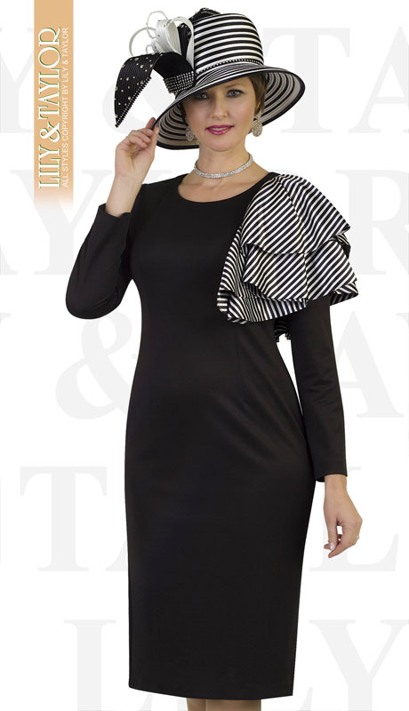 Lily And Taylor 4390-BL ( 1pc Ponte Knit First Lady Dress With Striped Ruffle Trim And Jeweled Brooch )