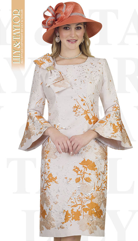 Lily And Taylor 4356-OR ( 1pc Novelty Womens Church Dress With Embroidery Pattern Bow Tie Trim And Flared Sleeves )
