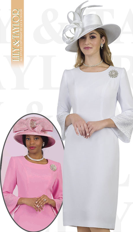 Lily And Taylor 4092-WH-IH ( 1pc Crepe Ladies Church Dress With Flared Sleeves And Brooch )