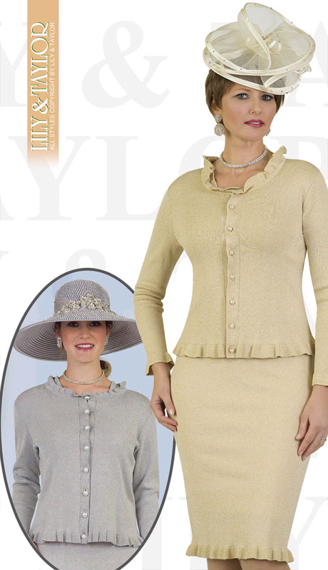 Lily And Taylor 659-GO ( 2pc Knit Womans Church Suit With Ruffled Edges And Pearl Buttons )