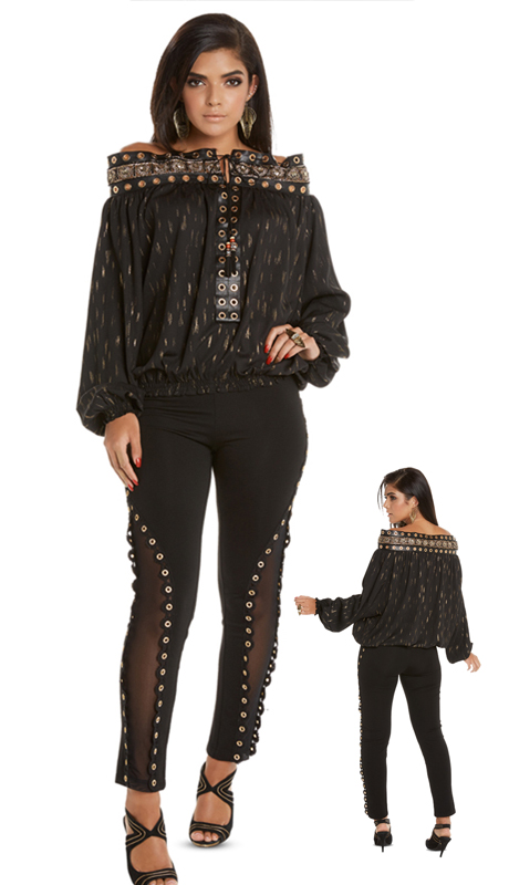 Love The Queen 17232-BG ( 1pc Tunic With Novelty Trims, Leather And Gold Grummets )