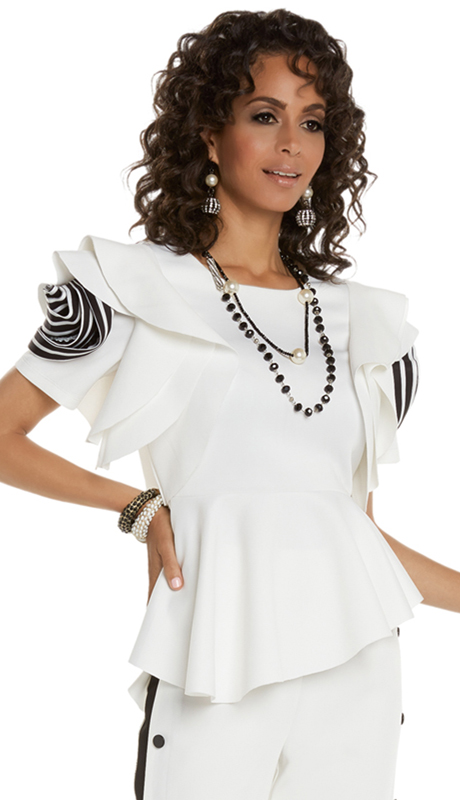 Love The Queen 17224-OWB ( 1pc Top With Striped Sleeve Motif )