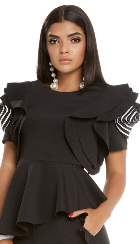 Love The Queen 17222-BW ( 1pc Top With Striped Sleeve Motif )