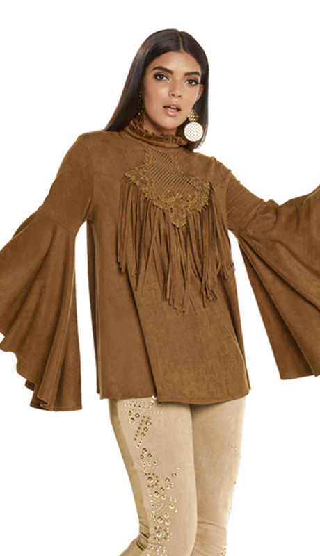 Love The Queen 177241-MO ( 1pc Tunic With Guipure Lace Trim And Fringe Design )