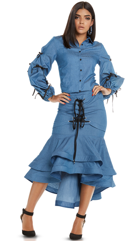 Love The Queen 17220-BL ( 2pc Jacket And Skirt Set With Grummets And Satin Lacings )