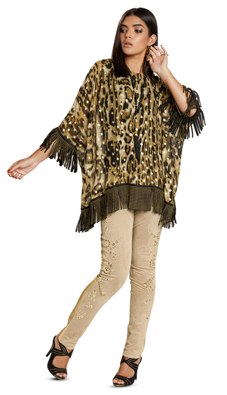 Love The Queen 17240-AP ( 1pc Tunic With Faux Suede Fringe And Gold Studs )