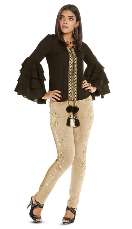 Love The Queen 17239-BK ( 1pc Top With Rhinestones, Metallic Braided Trims, Pom Poms And Tassels )