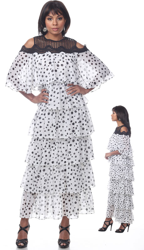 Love The Queen 17254-WB ( 1pc Cold Shoulder Polka Dot Dress )