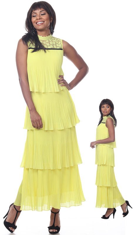 Love The Queen 17255-YE ( 1pc Tiered Dress With Lace Neckline )