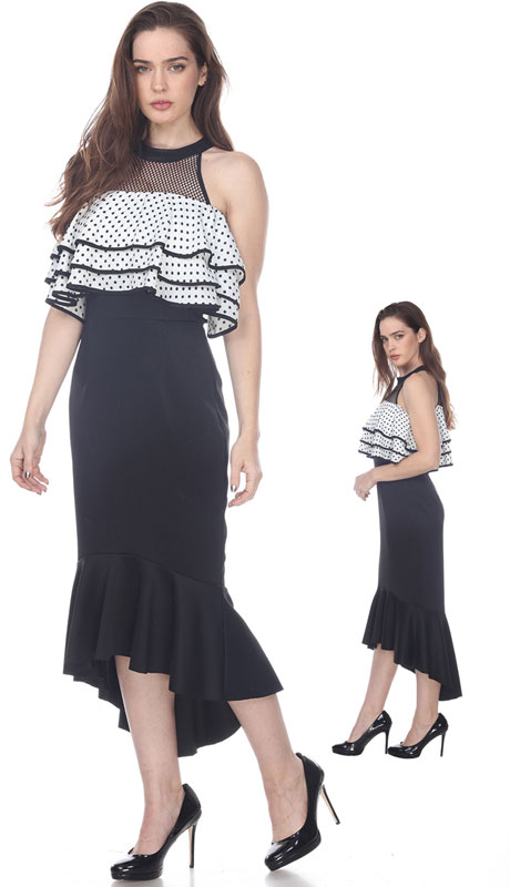 Love The Queen 17256-BW ( 1pc Two Tone Polka Dot Dress )