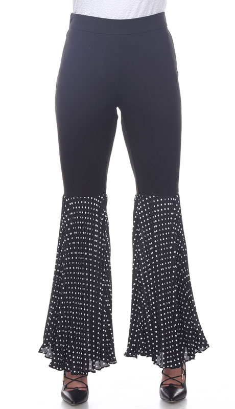 Love The Queen 17260-BW ( 1pc Half Chiffon Polka Dot Pant )