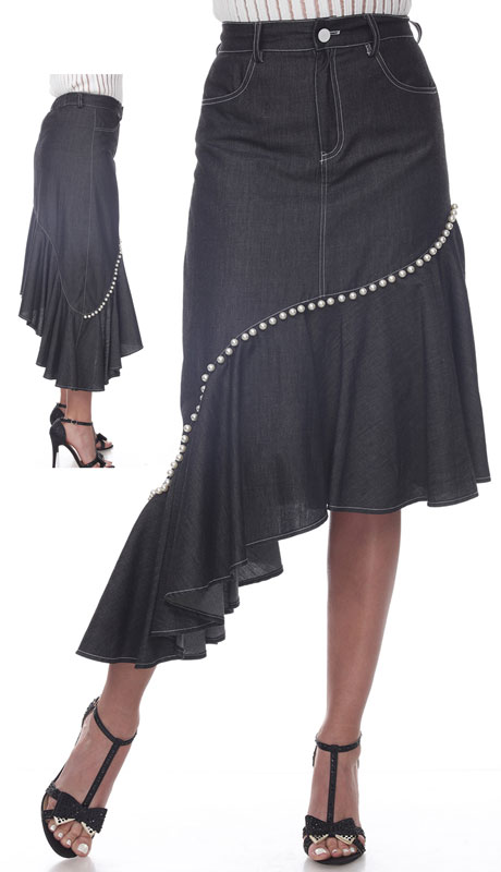 Love The Queen 17266-BL ( 1pc Pearl Trim Asymmetrical Denim Skirt )