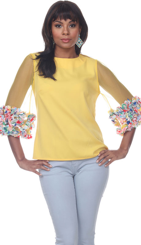 Love The Queen 17269-YM ( 1pc Sheer Sleeve Floral Trim Top )