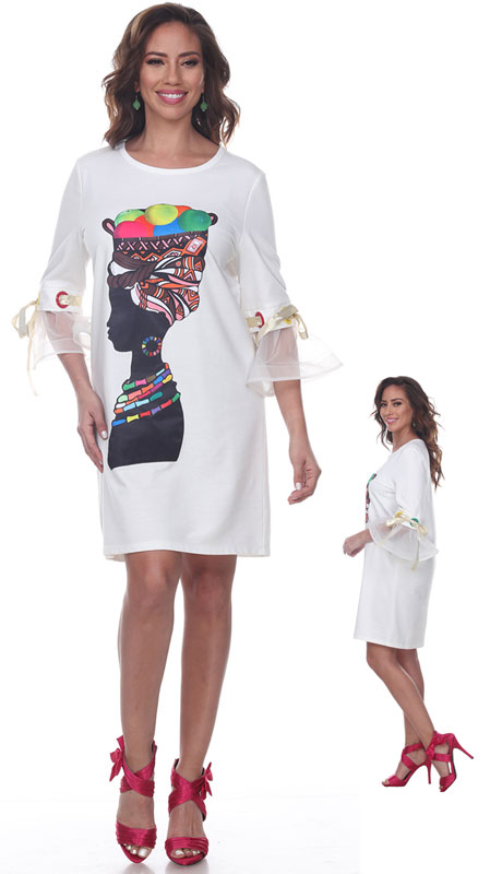 Love The Queen 17245-OW ( 1pc Sheer Sleeve Graphic Tunic )