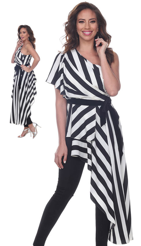 Love The Queen 17271-BW ( 1pc Striped One Shoulder Top )