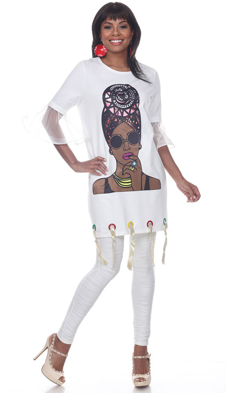 Love The Queen 17246-OW ( 1pc Sheer Sleeve Graphic Tunic )