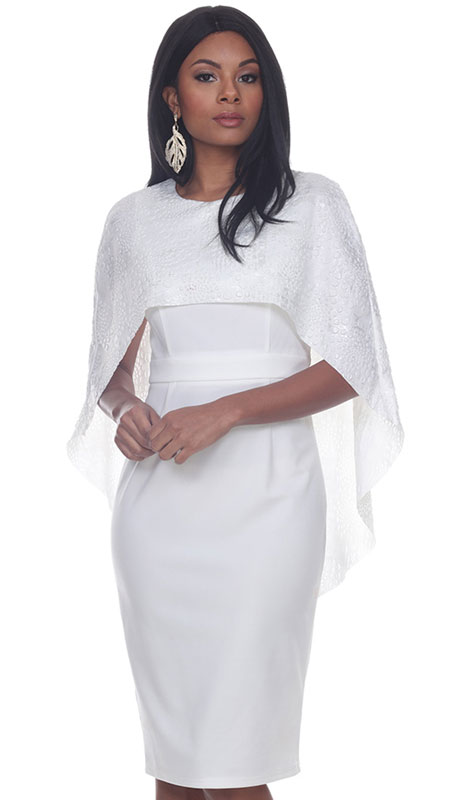 Love The Queen 17249-OW ( 2pc Detachable Cape Dress )