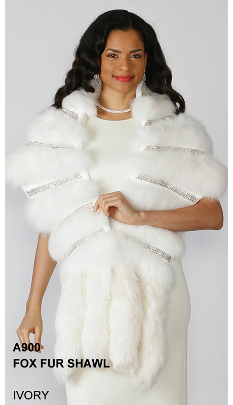 Lily And Taylor A900-IV ( Limited Edition Genuine Fox Fur Shawl With Rhinestone Trim )
