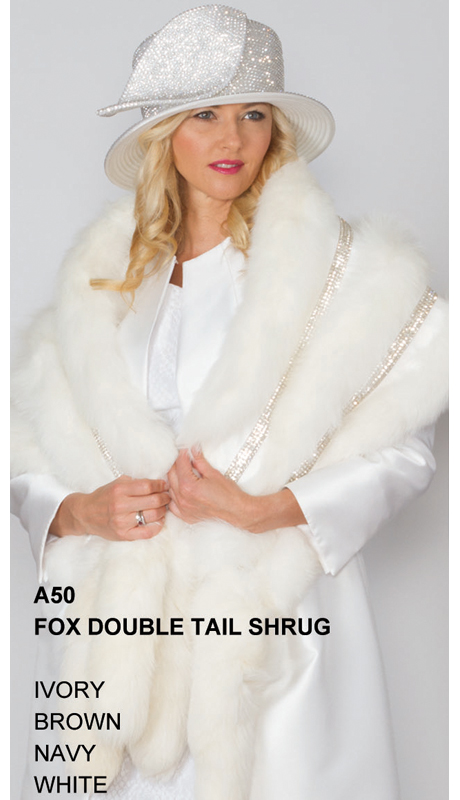 Lily And Taylor A50-IV ( Limited Edition Genuine Fox Fur Double Tail Shrug )