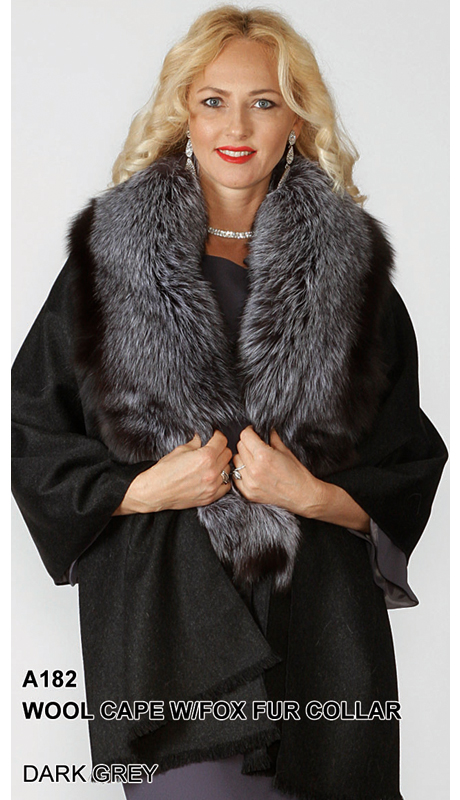 Lily And Taylor A182-DG ( Limited Edition Wool Cape With Genuine Fox Fur Collar  )
