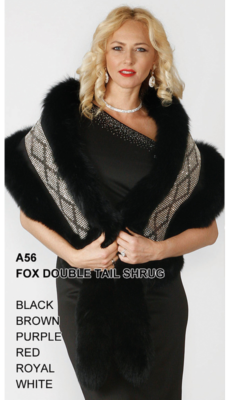 Lily And Taylor A56-BK ( Limited Edition Genuine Fox Fur Double Tail Shrug With Rhinestone Trim )