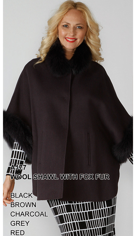 Lily And Taylor A177-BK ( Limited Edition Wool Shawl With Genuine Fox Fur )