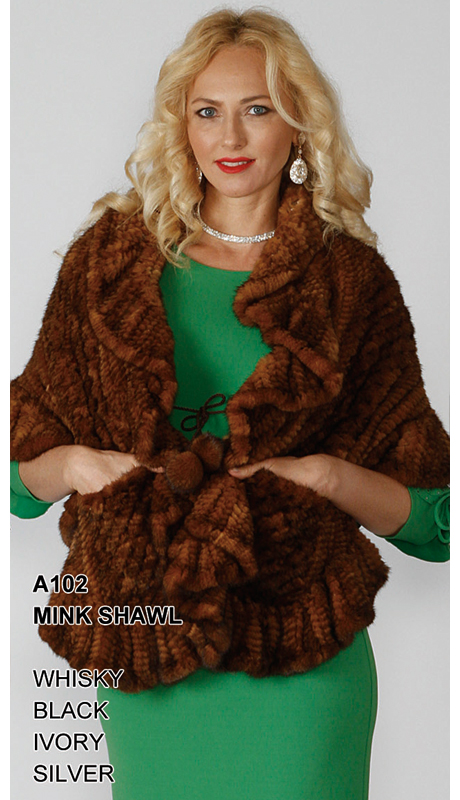 Lily And Taylor A102-WH ( Limited Edition Genuine Mink Shawl )