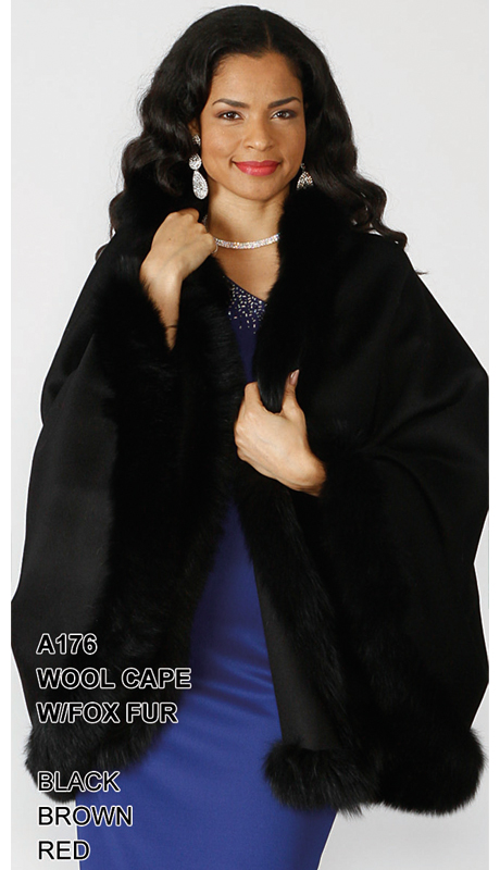 Lily And Taylor A176-BK ( Limited Edition Wool Cape With Genuine Fox Fur )