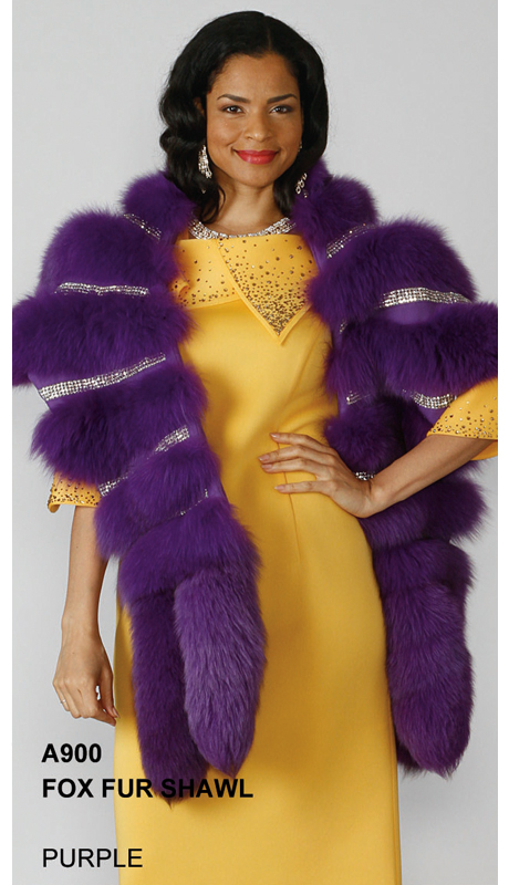 Lily And Taylor A900-PU ( Limited Edition Genuine Fox Fur Shawl With Rhinestone Trim )
