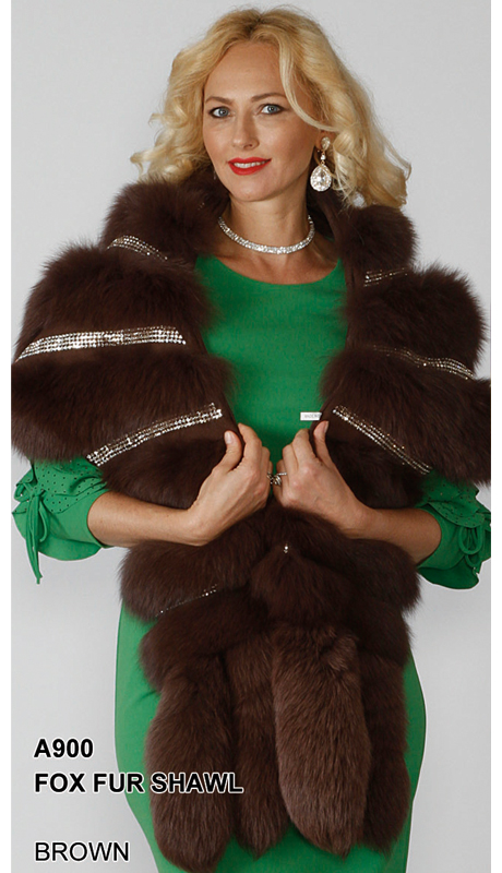 Lily And Taylor A900-BR ( Limited Edition Genuine Fox Fur Shawl With Rhinestone Trim )