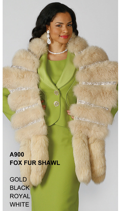 Lily And Taylor A900-GO ( Limited Edition Genuine Fox Fur Shawl With Rhinestone Trim )