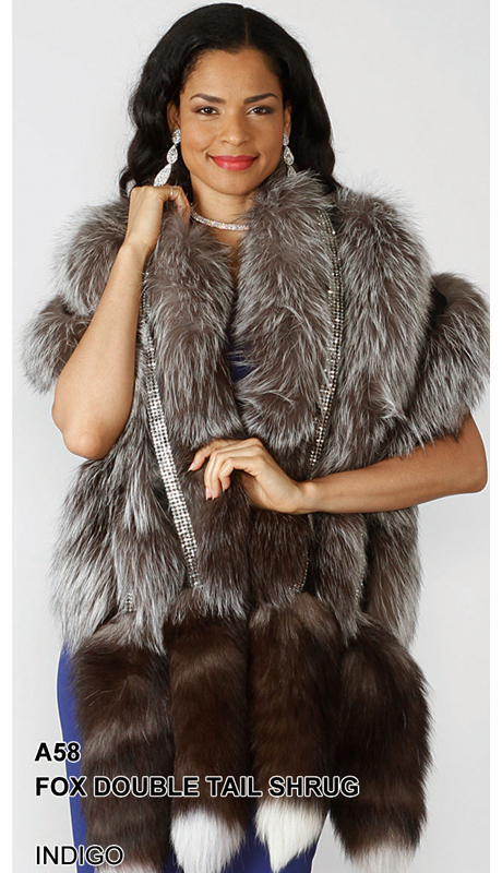 Lily And Taylor A58-IN ( Limited Edition Genuine Fox Fur Double Tail Shrug With Rhinestone Trim )