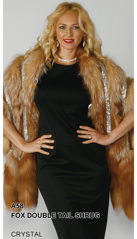 Lily And Taylor A58-CR ( Limited Edition Genuine Fox Fur Double Tail Shrug With Rhinestone Trim )