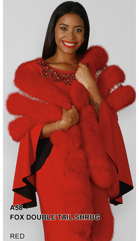 Lily And Taylor A58-RE ( Limited Edition Genuine Fox Fur Double Tail Shrug With Rhinestone Trim )