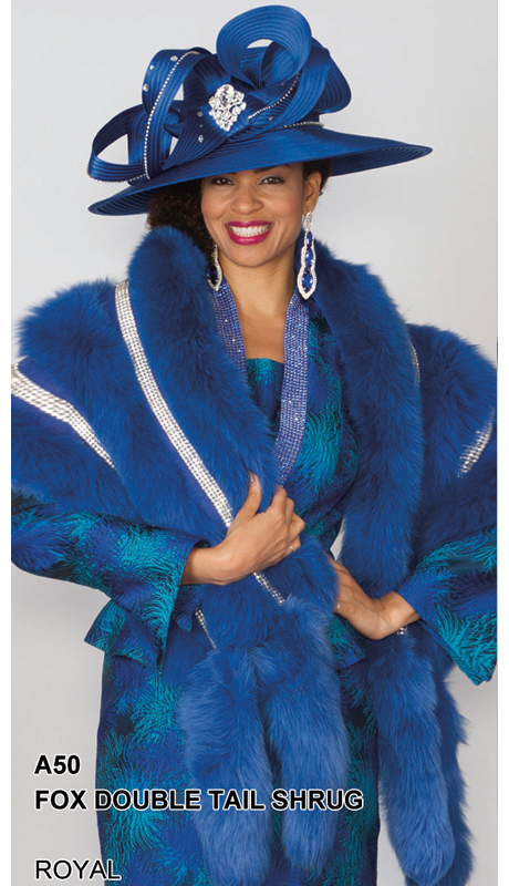 Lily And Taylor A50-RO ( Limited Edition Genuine Fox Fur Double Tail Shrug With Rhinestone Trim )