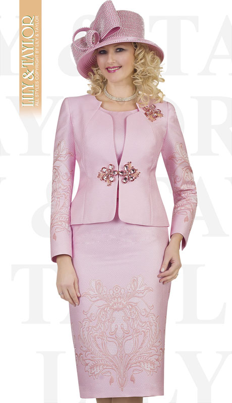 Lily And Taylor 4504-PI ( 3pc Silk Ladies Church Suit With Emboidered Design And Brooch )