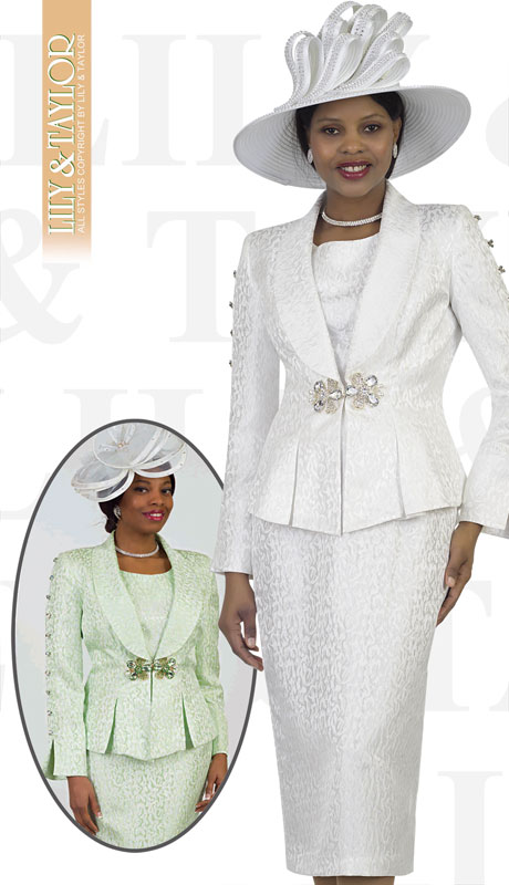 Lily And Taylor 4478-WH ( 3pc Novelty Ladies Church Suit With Embossed Print Design And Rhinestone Sleeves )