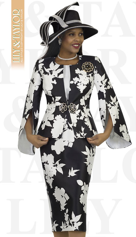 Lily And Taylor 4515-BL ( 3pc Silk Novelty Floral Brocade Church Suit With Flared Sleeves And Jeweled Brooch )