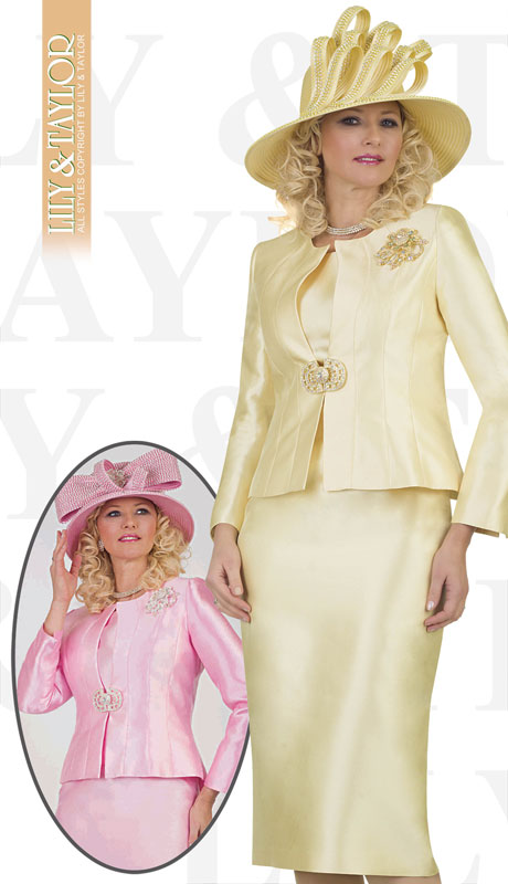 Lily And Taylor 4514-CA ( 3pc Silk Ladies Church Suit With Emboidered Design And Brooch )