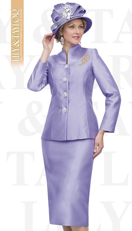 Lily And Taylor 4564-LA ( 2pc Silk Church Suit With Jeweled Buttons And Brooch )
