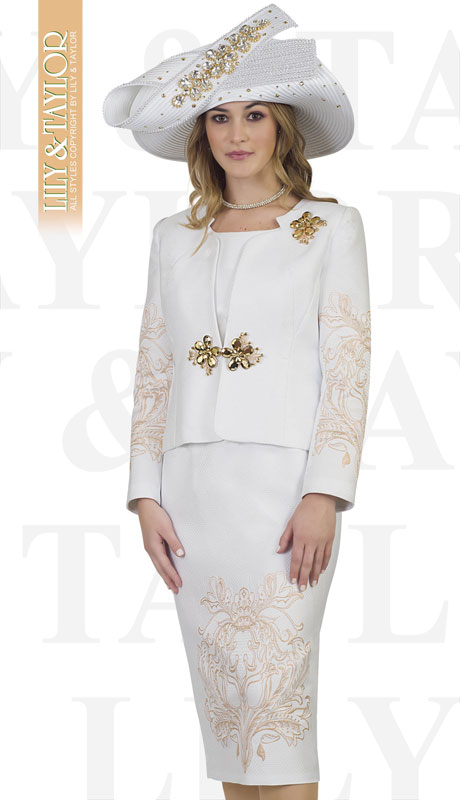 Lily And Taylor 4504-WH ( 3pc Silk Ladies Church Suit With Emboidered Design And Brooch )