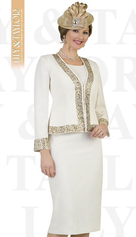 Lily & Taylor 4434-IV ( 3pc French Crepe Womans Skirt Suit With Jeweled Trim )