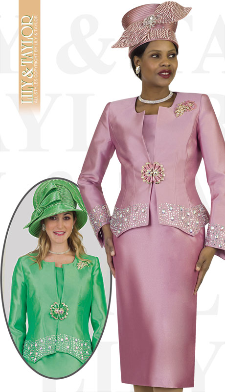 Lily And Taylor 4498-MA ( 3pc Silk Ladies Church Suit With Rhinestone Trim And Brooch )