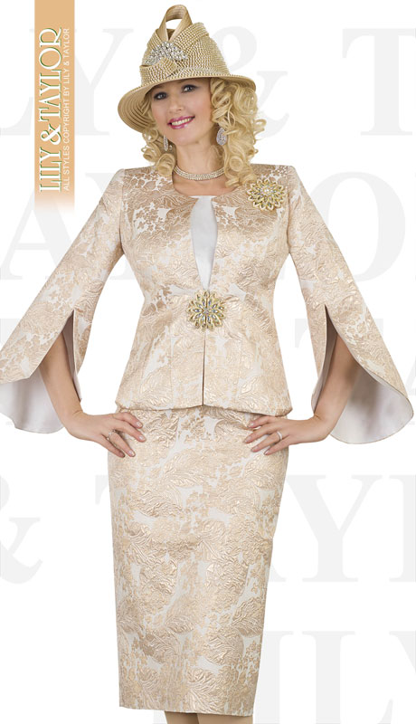 Lily And Taylor 4554-GO ( 3pc Novelty Floral Brocade Church Suit With Flared Sleeves And Jeweled Brooch )