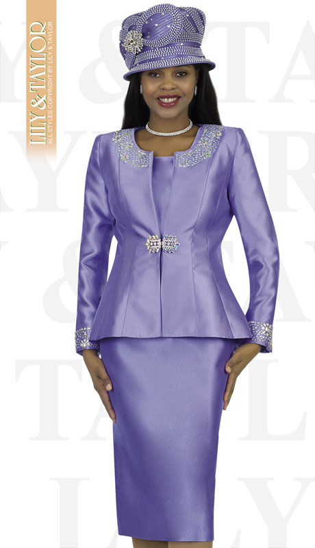 Lily And Taylor 3800-LA ( 3pc Silk Ladies Sunday Suit With Rhinestone Embellished Trims )