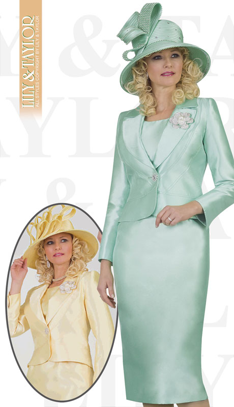 Lily And Taylor 4542-MI ( 3pc Silk Ladies Church Suit With Emboidered Design And Brooch )