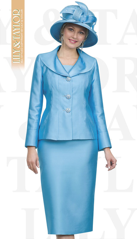 Lily And Taylor 4563.-TU ( 3pc Silk Ladies Church Suit With Buttoned Sleeves )