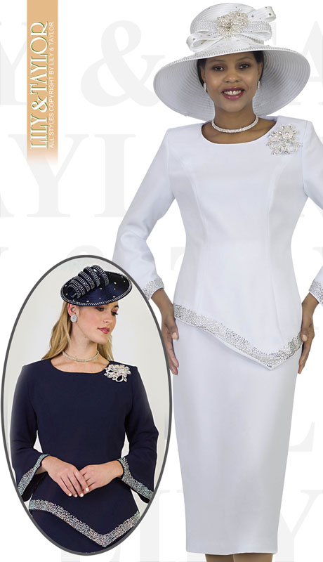 Lily And Taylor 4471-WH ( 2pc Ladies Crepe Church Suit With Rhinestone Trim And Brooch )