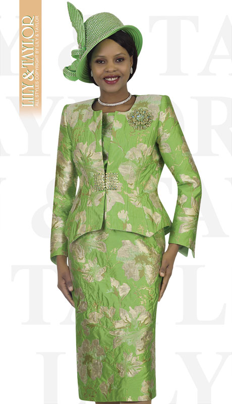 Lily And Taylor 4477-GR ( 3pc Novelty Church Suit With Brooch )