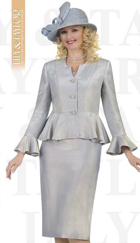 Lily And Taylor 4522-BL ( 3pc Silk Church Suit With Jeweled Buttons And Brooch )
